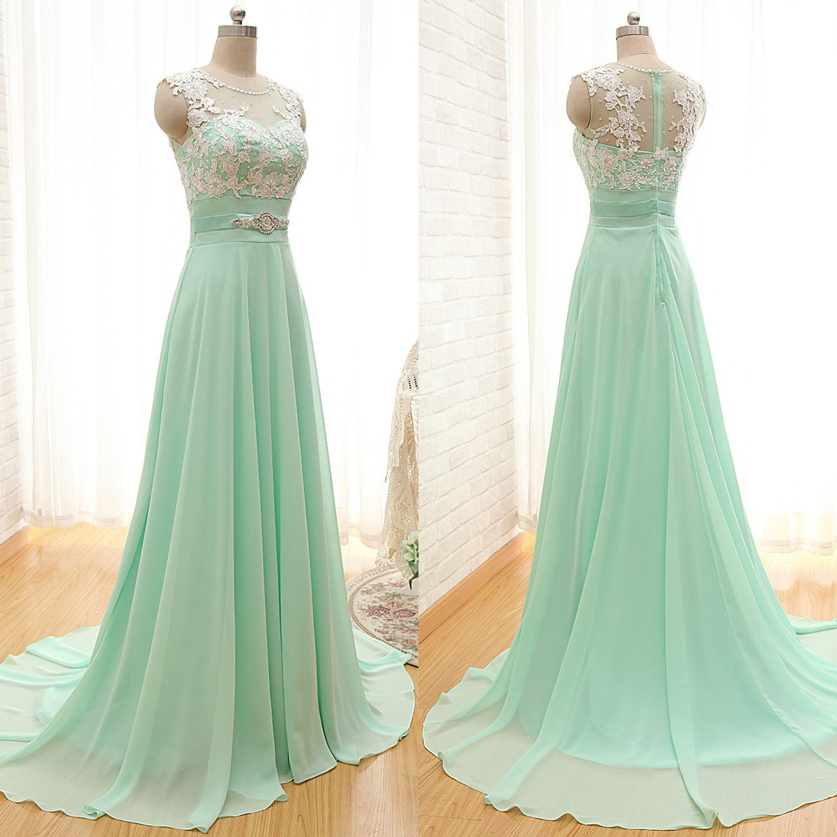 Scoop neck bridesmaid dresses with lace appliques elegant chiffon scoop neck bridesmaid dresses with lace appliques elegant chiffon bridesmaid dresses light green bridesmaid ombrellifo Gallery