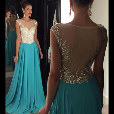 Cap Sleeve Long Prom Dresses, A-line Illusion Beaded Prom Dress ...