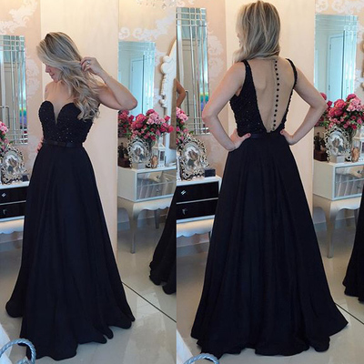 sexy black beaded prom dress sweetheart backless gowns