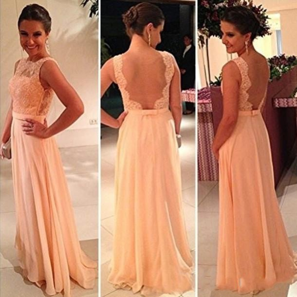 P44 Scalloped Backless Tank Lace Top Long Coral Prom Dresses ...