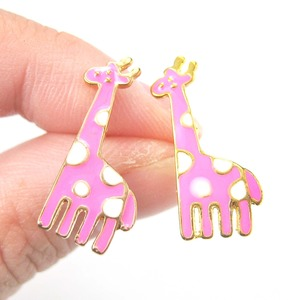 Large Polka Dotted Giraffe Animal Stud Earrings in Pink and White