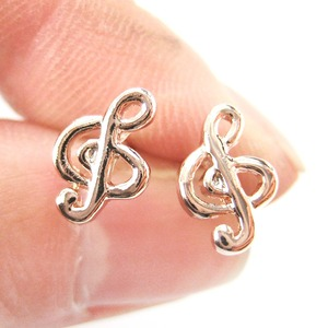 Musical Note Treble Clef Shaped Stud Earrings in Rose Gold