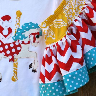 Carousel horse or big top tent shirt and skirt set
