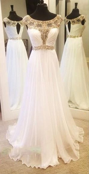 Charming Prom Dress,White Prom Dress,Chiffon Prom Dress,Beading Prom ...
