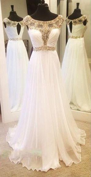 Charming Prom Dress,White Prom Dress,Chiffon Prom Dress,Beading Prom ...