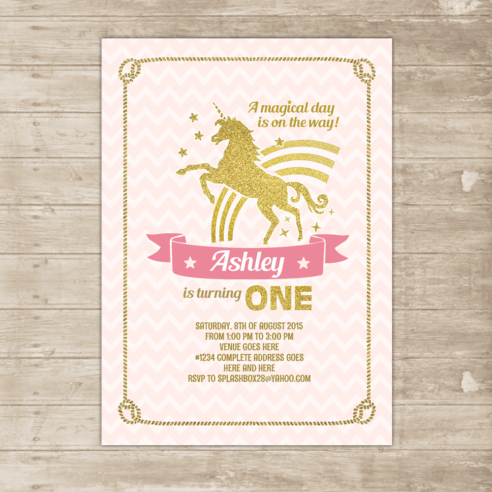 Unicorn Pink Gold Invitation Rainbow Invite Glitter magical flying – Invite Birthday Card