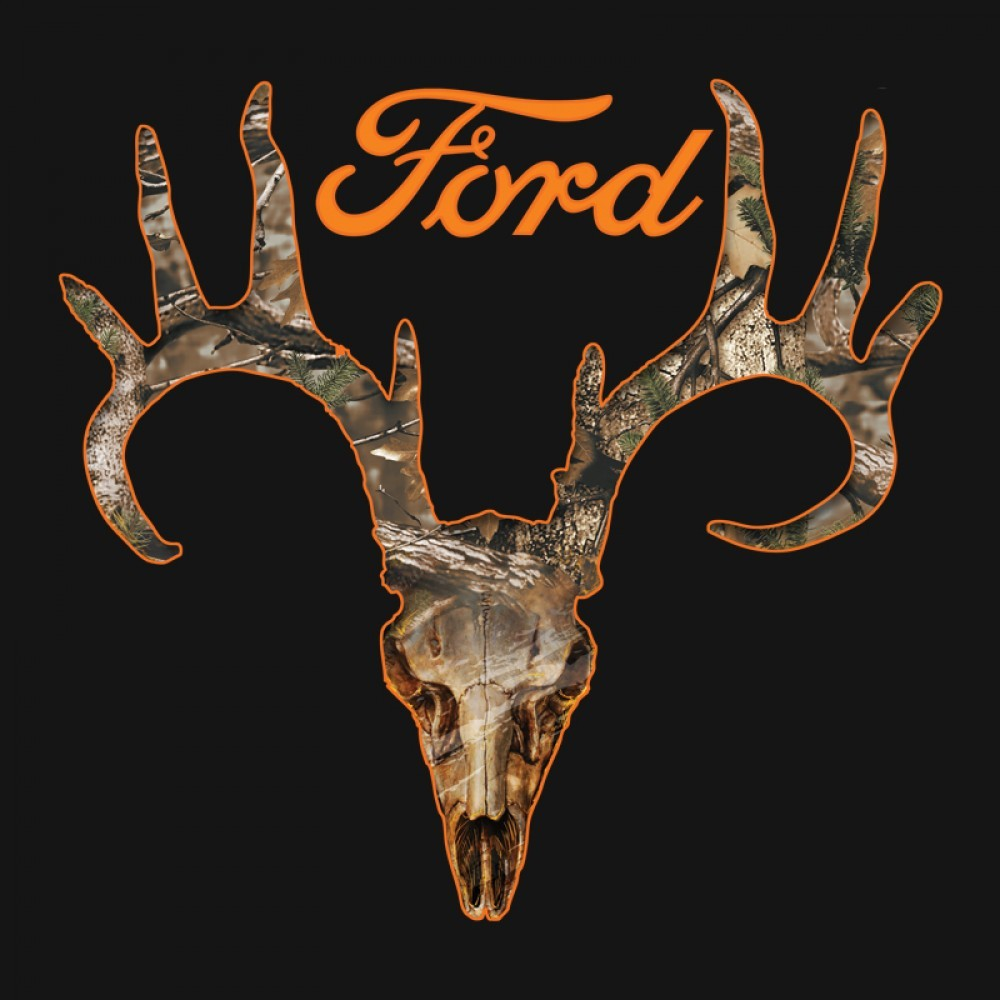New Officially Licensed Realtree Camo Throphy Buck Skull Ford Logo