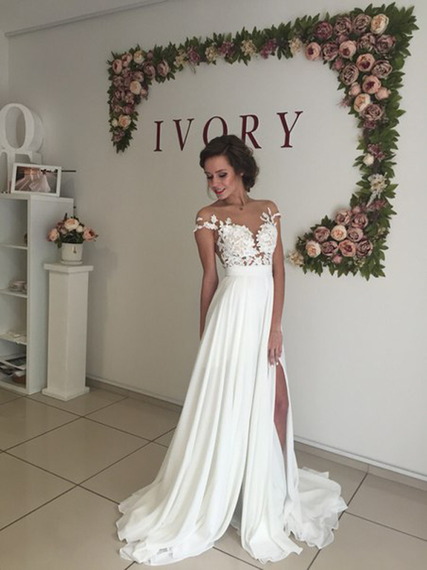 Long Chiffon Wedding Dress ,short Sleeves Wedding Dress ,cheap Wedding Dress  ,beach Wedding
