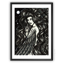 India Ink - Owl Forest Nymph - Original Art A6 Postcard medium photo