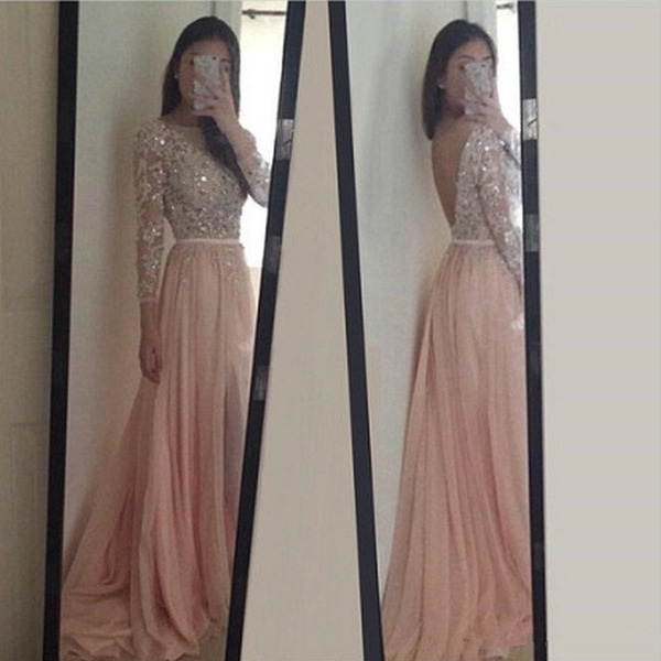 prom dresses with long sleeve,Pink A-line Bateau Floor-length ...