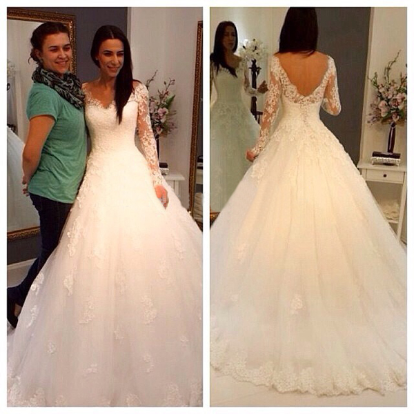 V-neck wedding dress,long sleeves wedding dress,open back wedding ...