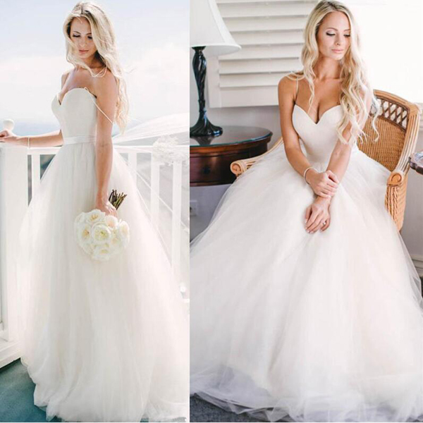 Captivating Cute Spaghetti Straps Wedding Dress,Sweetheart Princess Wedding Dresses  ,Tulle Floor Length Wedding Dress