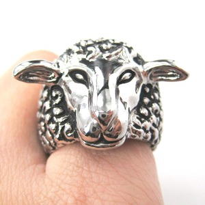 Adjustable Sheep Lamb Detailed and Realistic Animal Ring in Silver