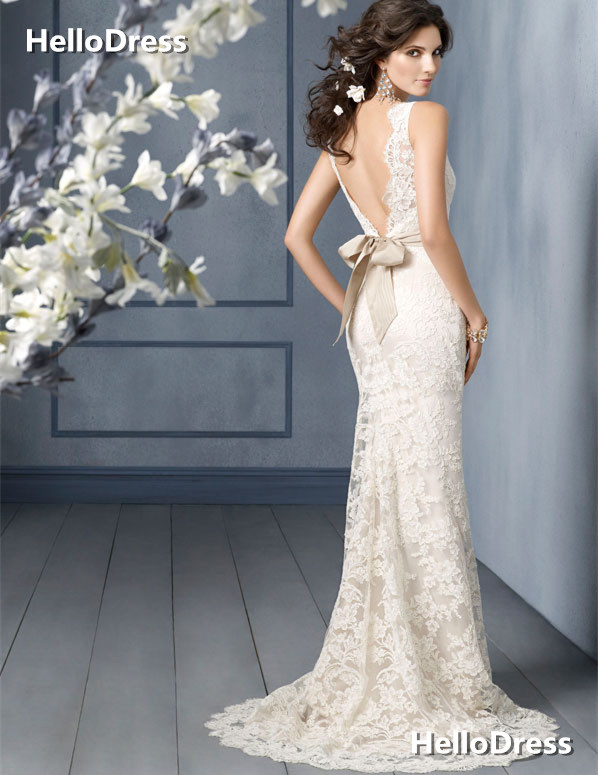 V-back Sweep Train Lace Wedding Gown with Removable Ribbon Sash ...