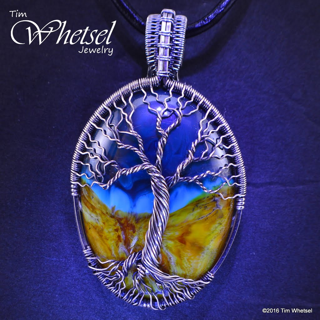 Sterling Silver Tree of Life Pendant with Glass Cabochon - Handmade ...