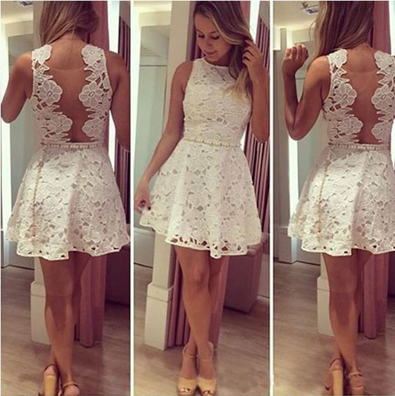 Ivory Lace Short Homecoming Dresses,Pretty Cocktail Dresses,Classy ...