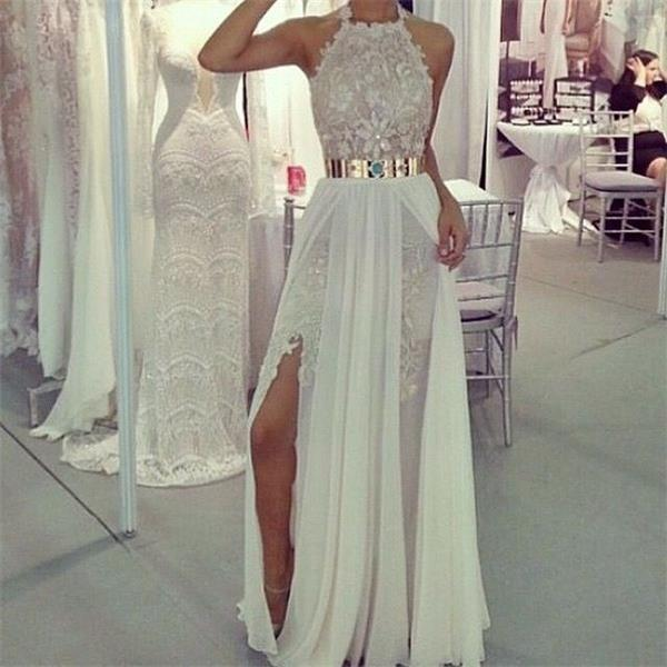 Halter Chiffon Long Prom Dresses