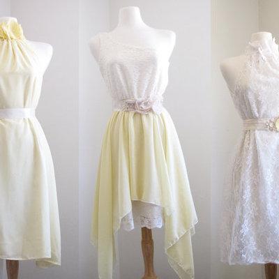 Mellow Yellow Bridesmaid Dresses Mismatched Dress Pale Sweet Lemons Halter Romance Wedding Beach CGheaven