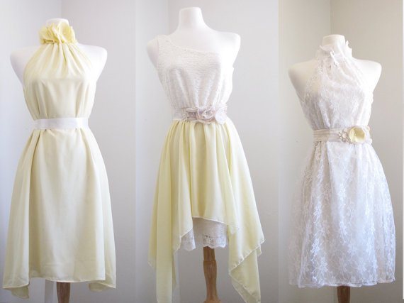 Mellow Yellow Bridesmaid Dresses/mismatched Bridesmaid Dress/pale Yellow/sweet  Lemons/Halter