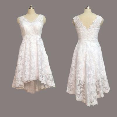 WD21 Short Lace Sleeveless Wedding Dresses,Wedding Dress Custom Made ...