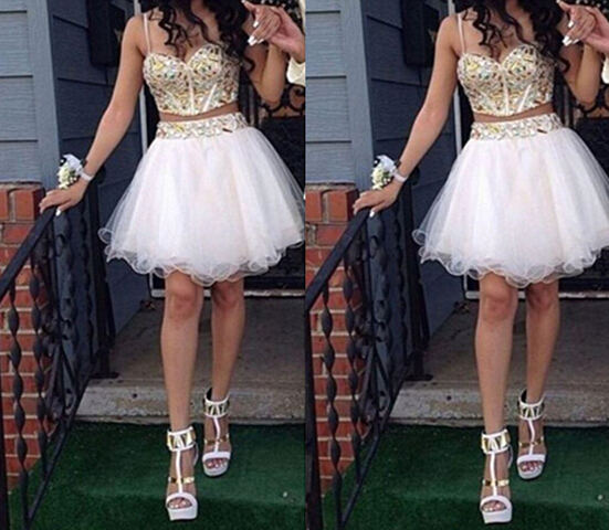 Solo Dress White Homecoming Dress,2 Piece Homecoming Dresses,Beading ...