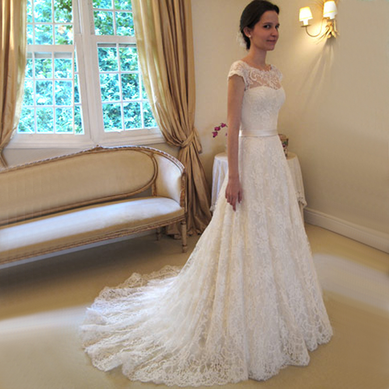 Elegant Long Simple Elegant Ivory Lace Wedding Dresses 2016, White ...