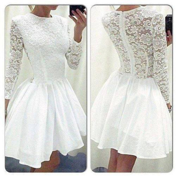 short homecoming dress, white lace prom dress, cheap long sleeve ...