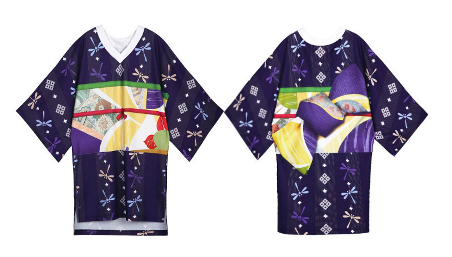 Lost In Kyoto Collection Purple White Dragonfly Floral Kimono Dress