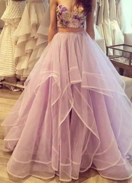 Two Pieces Sweetheart Ball Gown Long Tulle Quinceanera Dress/Prom ...