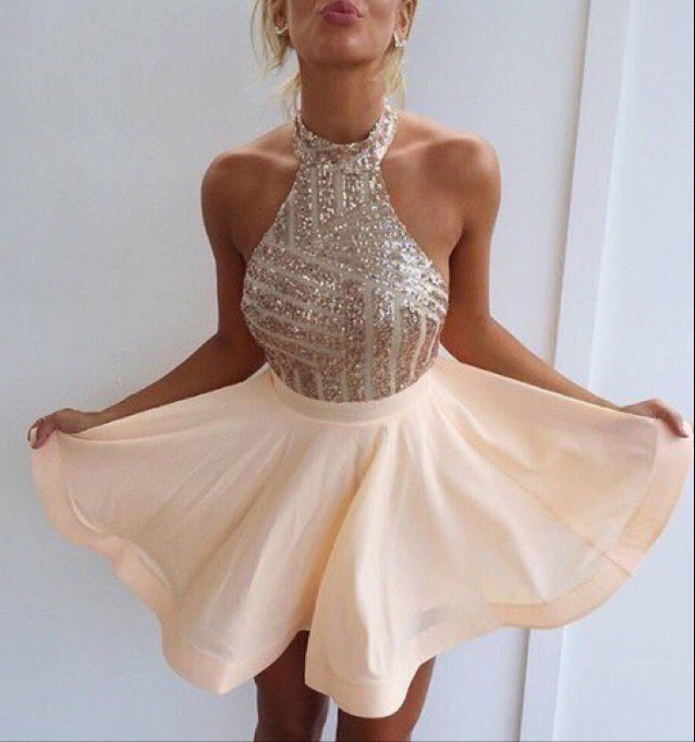 High neck Halter Champagne Homecoming Dresses Min Short Prom Dress ...