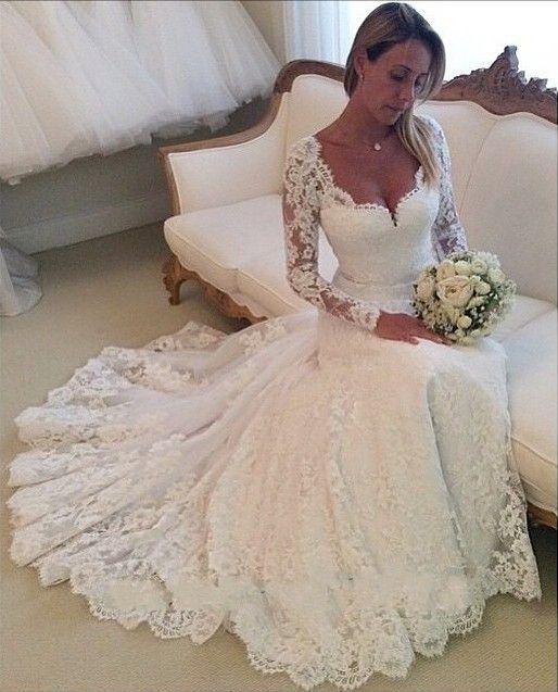 Charming wedding dress,Long-Sleeves Wedding Dress,Lace wedding dress ...