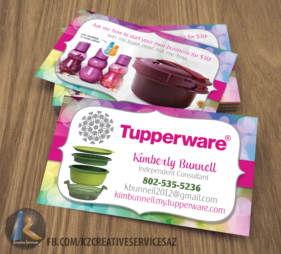 Young Living Business Card Template: Tupperware Business Cards Style 4 · KZ Creative Services