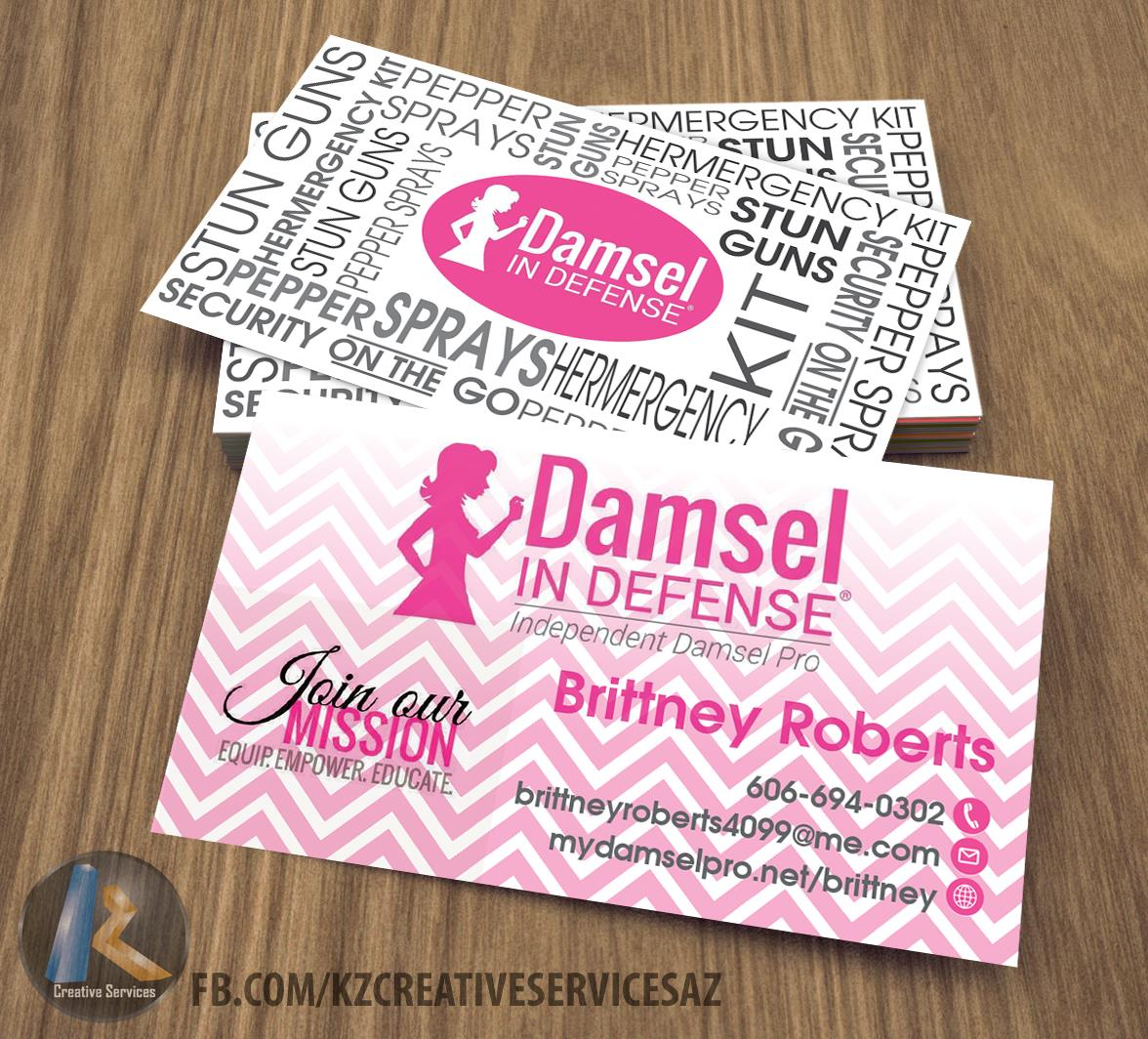 Damsel in defense business cards style 2 kz creative for Damsel in defense business cards