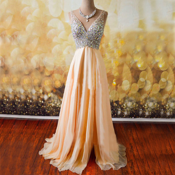a line prom dress,v neck crystal prom dress,