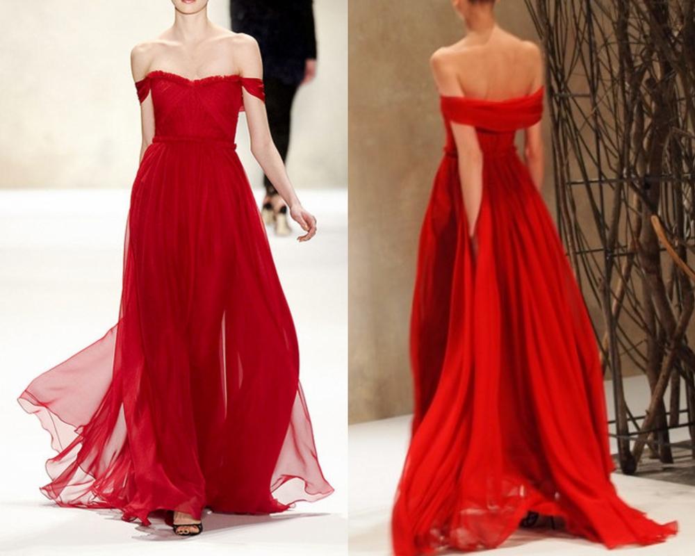 Red Prom Dresses,Off Shoulder Evening Dresses,Formal DressesChiffon ...