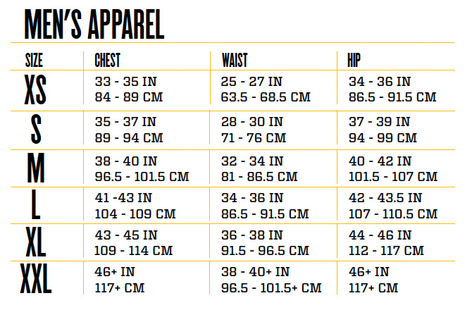 Mens Clothing Size Conversion Chart Frodofullring