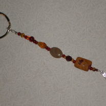 Beaded Keychain Red & Amber w/Cat
