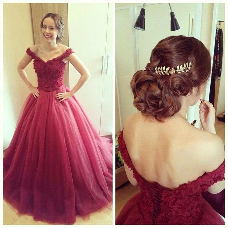 Ball gown prom dresses, burgundy prom dress, lace prom dresses ...