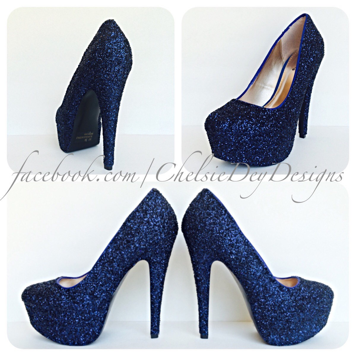 Navy Blue High Heels   Glitter High Heel Closed Toe Pumps   Dark Blue Shoes