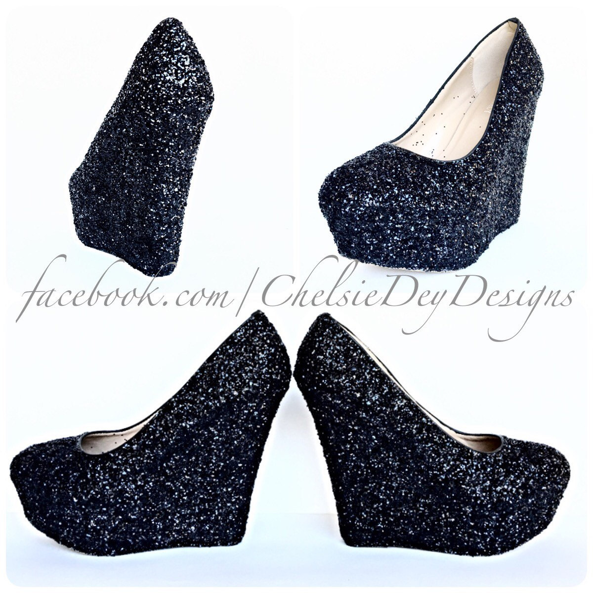 Black Glitter Wedges