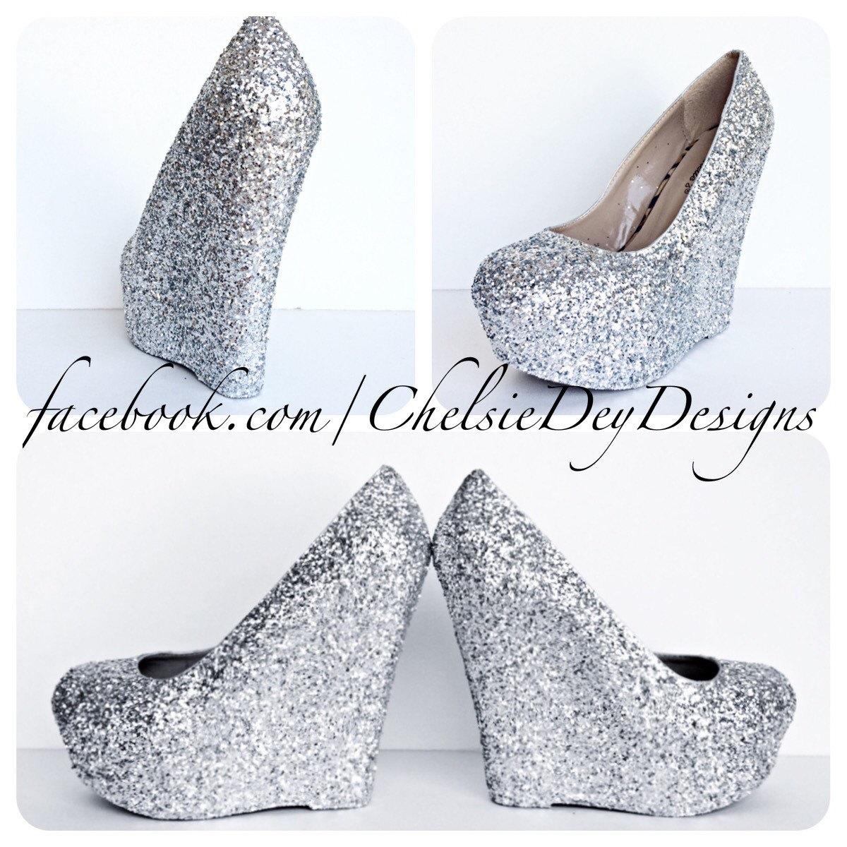 Silver Glitter Wedges - Sparkly Platform Heel - Glitzy Wedding ...
