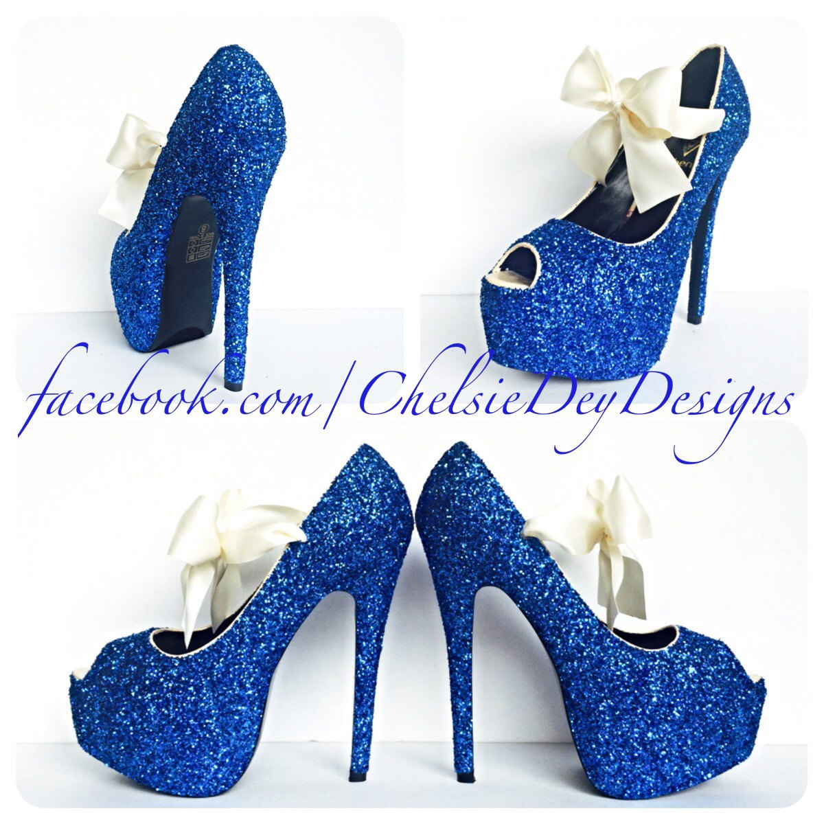 ad7cd6e09f8 Glitter High Heels - Royal Blue Pumps - Blue Peep Toe - Open Toe Platform  Pumps