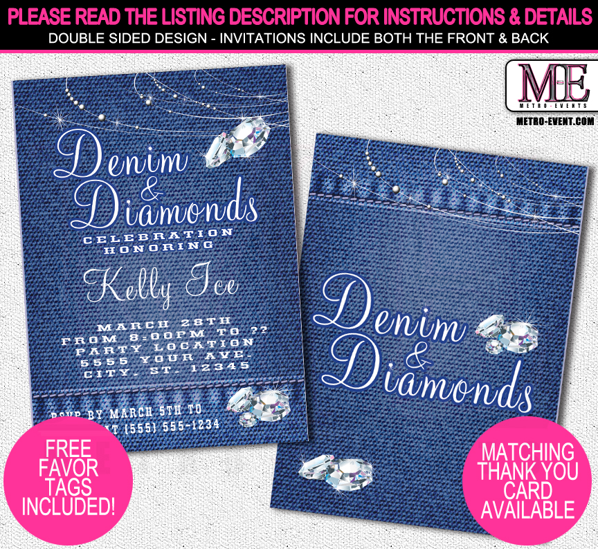 Denim and Diamonds Invitations | Metro-Events | Metro-Events Party ...
