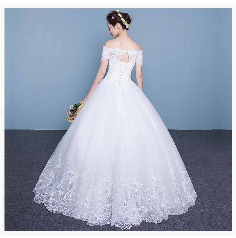 A22 2016 Fashion Bride White Lace Wedding Dress Short Sleeves Boat ...
