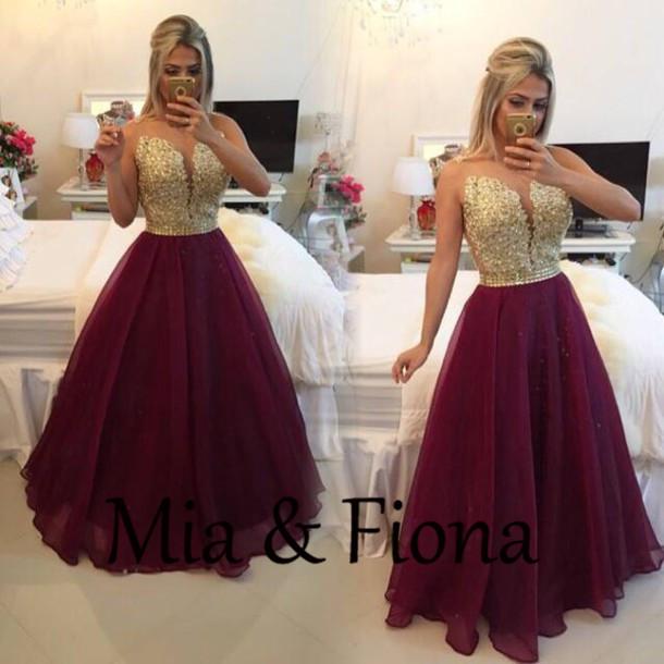 Purple Gold Prom Dress