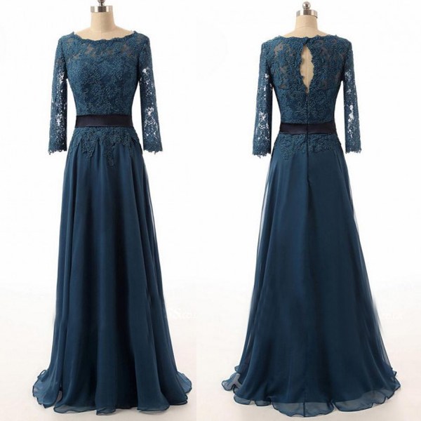 Long sleeve prom dresses, navy prom dresses, lace bridesmaid dresses ...