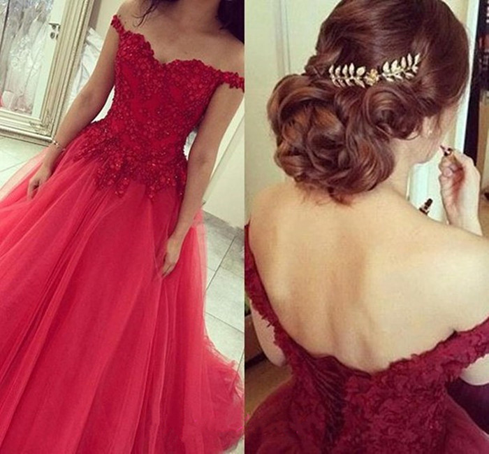 J95 Off The Shoulder Prom Dress,Lace Prom Dress,Red Prom Dress,A ...