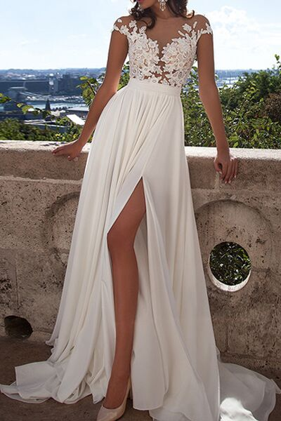 Ivory lace beach wedding dresses front slit see through for Wedding dresses with sleeves for sale