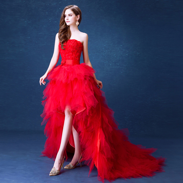 J110 Red Wedding Dresses The Bride Married Lace Flower Strapless