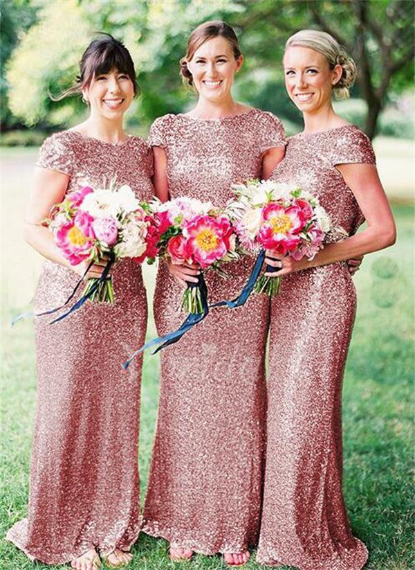 Cap sleeves bridesmaid dress,sequined sparkly bridesmaid dress,open ...